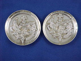 Pair  William Spratling Quetzalcotal Silver Pin Trays