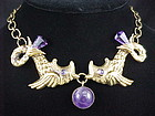 Hubert Harmon Design Amethyst & Brass Necklace Maya