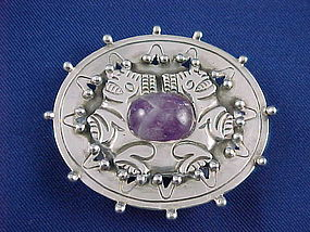 1930's William Spratling 980 Silver & Amethyst Pin