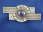Large Art Deco Fred Davis Sterling &  Amethyst Pin