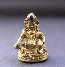 A Gilt Bronze Yellow Jambhala of 19th Century.