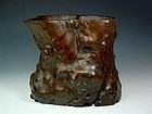 A Decent Boxwood Brush Pot of Qing Dynasty