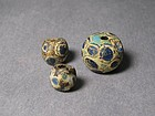 Three Archaic Glass Beads of Warring States(BC.770-220)