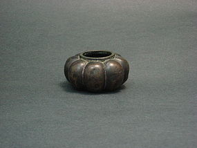 A Scholar Bronze Water Basin in Lovely Pumpkin Shape