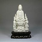 A Triad Blac De Chine Guanyin Statue of Qing Dynasty