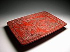 A Cinnabar Lacquered Wood Tray of Qing Dynasty