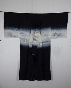 Japanese meiji beautif katsugi-yuzen Kimono textile