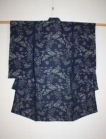 Edo echigo-jyofu hemp Indigo dye kasuri Child kimono
