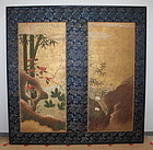 Edo Picture Hanabusa-Itcho Very rare screen Kano group.