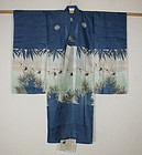 Japanese antique old Beautiful yuzen-dye child silk ro-kimono