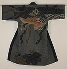 Edo Tsutsugaki Indigo Fire fighter Long coat Sasiko Chinese phoenix