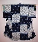 Japanese edo Indigo asamai-shibori dangawari kimono