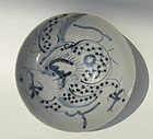 Qing Dynasty Blue and White Bowl with Dragon
