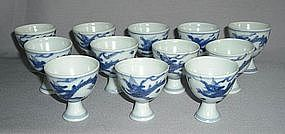 A Dozen Blue and White Dragon stem cup,Tianqi period
