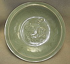 Rare Yuan dyn  celadon dish with dragon chasing fish