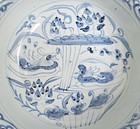 Yuan Dyn Blue and White Bowl With Mandarin Duck Motive