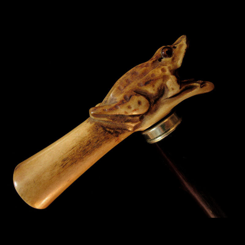 Carved Bone Frog Walking Stick