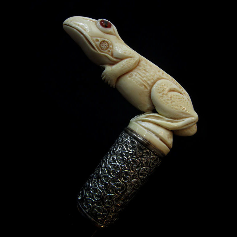 Ivory Frog Walking Stick, 1894, Two Red Glass Eyes