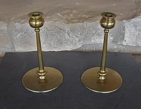 Signed Arts & Crafts Period Brass Candlesticks