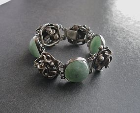 Vintage Modernist Sterling and Stone Hand Made Bracelet
