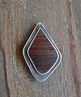 Vtg Modern Rare Ted Lowy Pin Pendant Rosewood Sterling