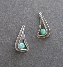 Vintage Modernist Henry Steig Sterling Stone Earrings