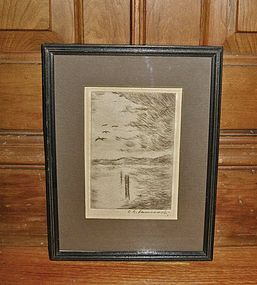 Early Texas Artist C. C. Pancoast Pencil Signed Etching