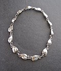 Vintage Sterling Hand Made Leaf Necklace Arts Crafts