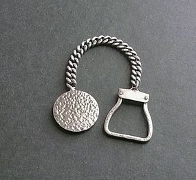 Paul Voltaire Modernist Sterling Key Chain & Fob 1950's