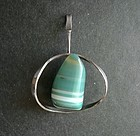 Sterling Modernist Scandinavian Pendant Signed Striped Agate