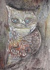 "JAMES MARTIN, ""SMILING OWL"", TEMPERA, 1962"