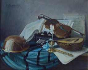 WALTER BENOLDI, STILL LIFE WITH INSTRUMENTS.