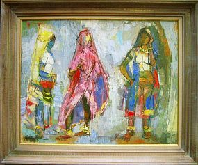 "HILDA RUBIN ""THREE GRACES"" OIL ON CANVAS, 1960s"