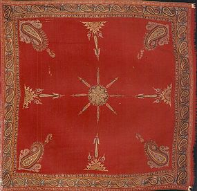 ANTIQUE EMBROIDERED KASHMIR SHAWL, CIRCA 1810