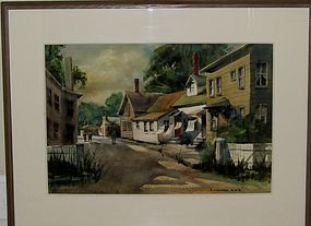 SAMUEL LEITMAN, ORIGINAL WATERCOLOR, CIRCA 1950