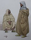 HANS KLEISS, TWO MOROCCAN MEN, WATERCOLOR