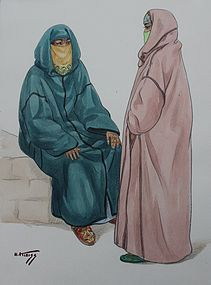 HANS KLEISS, MOROCCAN VEILED WOMEN, WATERCOLOR