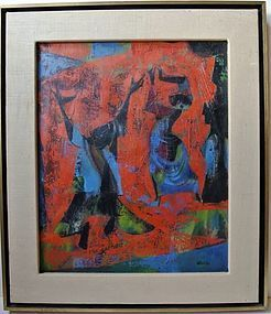 "JOSEPH WOLINS ""FIGURES ON RED GROUND"""