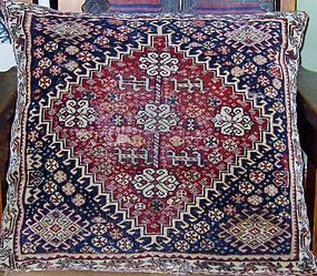 ANTIQUE KASHGAI (QASHQA'I) SADDLEBAG FRONT PILLOW