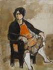 RUTH SCHLOSS SITTING WOMAN OIL AND GOUACHE ON PAPER