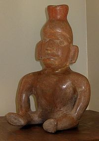 COLIMA VESSEL, SEATED MAN, PRE COLUMBIAN