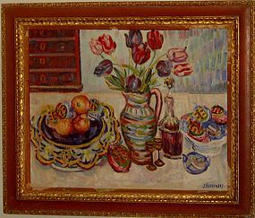 JACQUES KOSLOWSKY LARGE STILL LIFE ON CANVAS