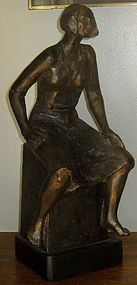 JOE ANN COUSINO BRONZE SCULPTURE 'WOMAN SITTING""