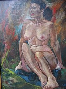 "DAVID DAY, ""NUDE"", OIL ON CANVAS, 1948"
