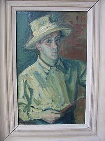 "Max Band, ""Self portrait at the easel"""