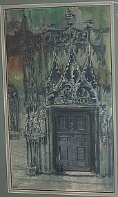 PHILIP MOOSE, THE CATHEDRAL, ORIGINAL GOUACHE, 1975