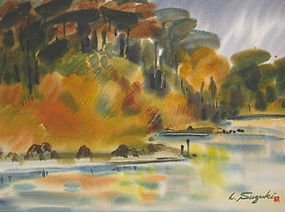 LEWIS SUZUKI, CALIFORNIA, UNTITLED WATERCOLOR
