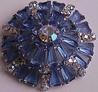 Juliana keystone sapphire blue bagettes brooch - 1958