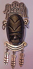 Mexican sterling onyx face pin- 1950s-  Large