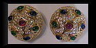 Ciner clip earrings red / blue/ green cabs + clear